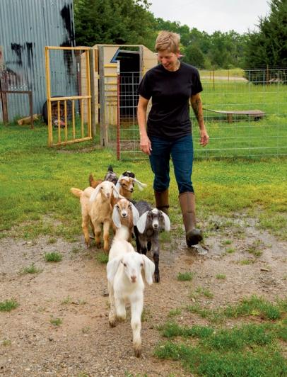 Lisa Becklund on the farm