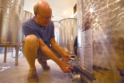 Sample of wine drawn from tank at Pecan Creek Winery