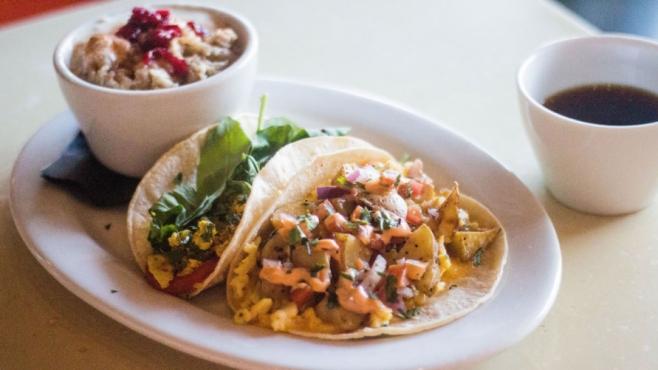 Breakfast tacos at Chimera Cafe