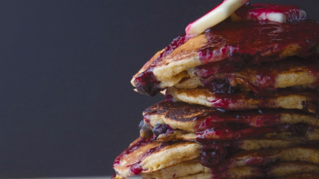 Blueberry Buttermilk Pancakes with Blueberry Syrup