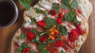 Chef Michelle Donaldson's Grilled Sourdough Flatbread with Squeaky's Chèvre and Rhubarb Compote
